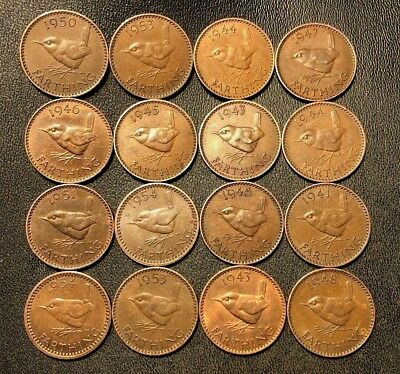 OLD Great Britain Coin Lot! 16 Farthings - Bird Series - 1937-1956 - FREE SHIP!!