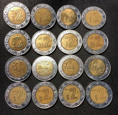 Old Mexico Coin Lot - 2 Pesos - 16 Excellent Bi-Metal Coins - FREE SHIPPING