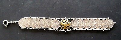 Antique 14 Czarist Russia Silver 10 Kopecks Bracelet Embossed Eagle Unique Rare