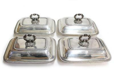 1826 William Bateman 4x sterling entree dishes lids finials matched 6322 grams