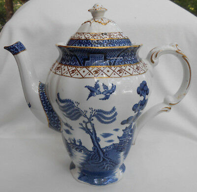 Booths Real Old Willow Coffee Pot Server Rare Gold Server Blue A 8025 4 Cup