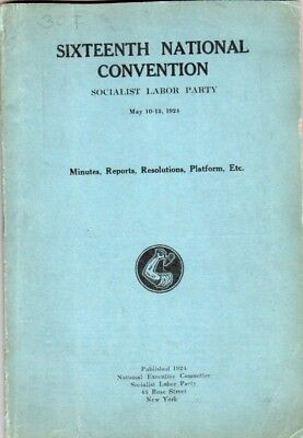 1924 Socialist Labor Party National Convention Booklet