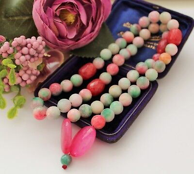 Beautiful Faceted Red Green Agate Prayer Beads