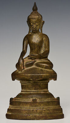16th Century, Shan, Antique Burmese Bronze Seated Buddha on Double Base