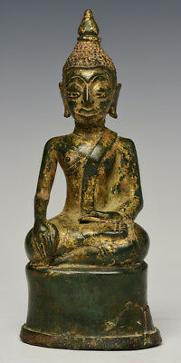 18th Century, Antique Laos Bronze Seated Buddha