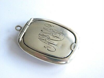vintage sterling silver pill box with mirror~ hallmarked 1919 ~