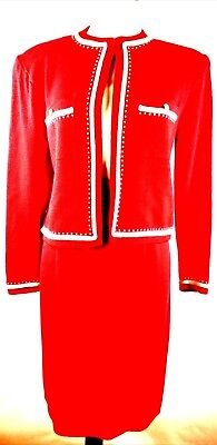St. John by Marie Gray Red Pearl Studded Santana Knit Skirt Suit Size 12