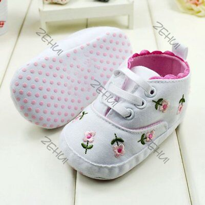 Baby Girl Kids White Anti-slip Lacing Prewalkers Newborn Shoes Cloth Shoes