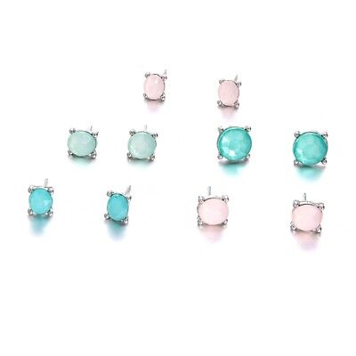 5 Pairs Chrysoprase Assorted Multiple Stud Earring Sets With Card Boho Jewelry