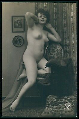 French nude woman early Biederer original c1910-1920s photo postcard