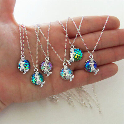 Luxury Mermaid Fish Scale Pendant Rainbow Holographic Sequins Charm Necklace New