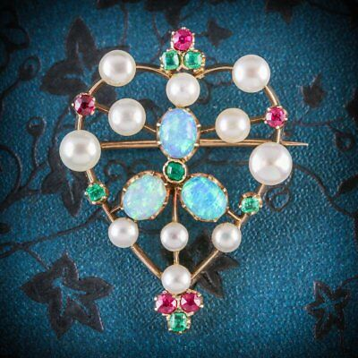 Antique Victorian Brooch Emerald Ruby Pearl Opal 18Ct Gold Circa 1900