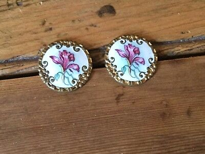 Antique 19th century hand painted enamelled buttons - pair