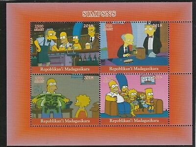 Madagascar 7667 - 2018 THE SIMPSONS  perf sheet of 4 unmounted mint