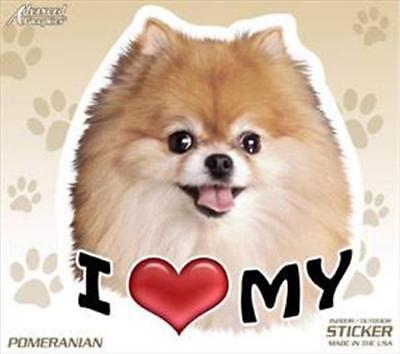 "I Love My Pomeranian Dog 4"" Car Home Vinyl Sticker Decal Pet Gift USA"