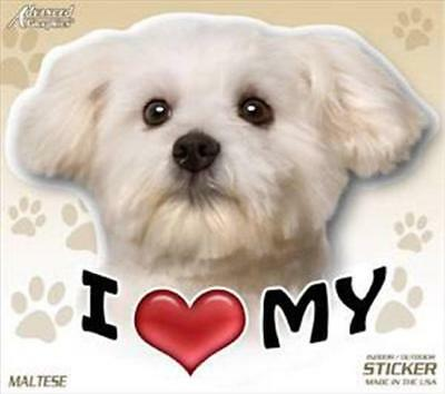"I Love My Maltese Dog 4"" Car Truck Home Vinyl Sticker Decal Pet Gift USA"