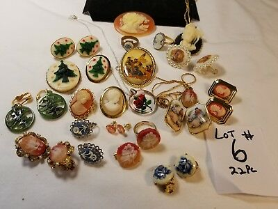 22 Vtg Cameo Jewelry Lot Brooch Earring Ring Set Resin Glass Porcelain celluloid