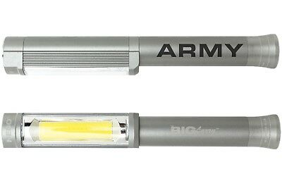 Nebo Big Larry Flashlight COB LED Silver 6306 Laser Engraved Army Text