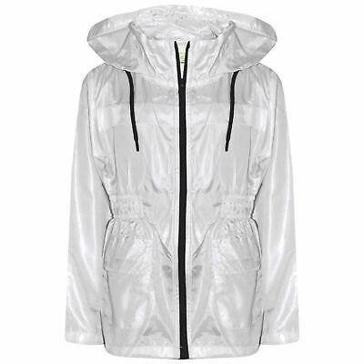Kids Girls Boys Raincoats Jackets White Lightweight Hooded Cagoule Rain Mac 5-13