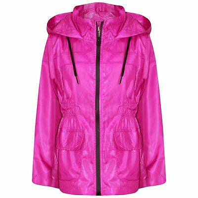 Kids Girls Boys Raincoats Jackets Pink Lightweight Hooded Cagoule Rain Mac 5-13Y