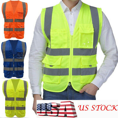 High Safety Men Security Visibility Reflective Vest Construction Traffic Work US