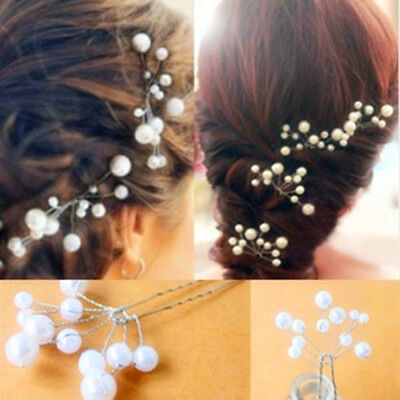 2Pcs Women Wedding Bridal Bridesmaid Pearls Hair Pins Clips Comb Headbands New