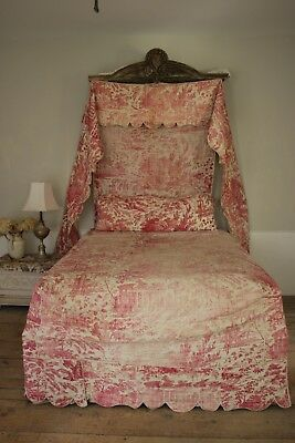 6 Piece Toile SET antique red pink COLLECTION French quilted bed textiles RARE
