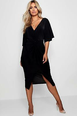 Boohoo Womens Plus Slinky Twisted Kimono Sleeve Midi Dress