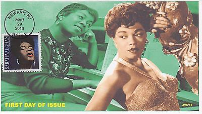 Jvc Cachets-2016 Sarah Vaughan Issue First Day Cover Black Heritage Jazz Music 1