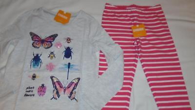 NEW Girls Size 7-8 Gymboree Outfit Pink White Leggings & Butterfly Bug Shirt NWT
