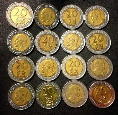 Old KENYA Coin Lot - 20 SHILLING - 16 High Grade Uncommon Coins - FREE SHIPPING