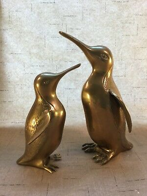 Pair of Tall Vintage Brass Penguin Statues Figurines in Wonderful Condition [WS]