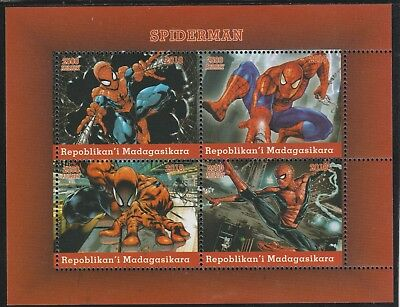 Madagascar 7681 - 2018   SPIDERMAN  perf sheet of 4 unmounted mint