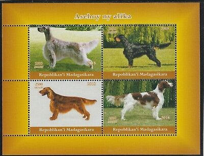 Madagascar 7687 - 2018   DOGS  perf sheet of 4 unmounted mint