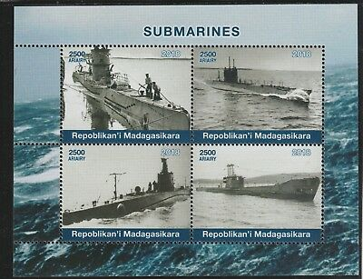 Madagascar 7691 - 2018   SUBMARINES  perf sheet of 4 unmounted mint