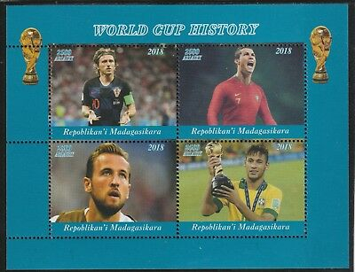 Madagascar 7695 - 2018   FOOTBALL - WORLD CUP  perf sheet of 4 unmounted mint