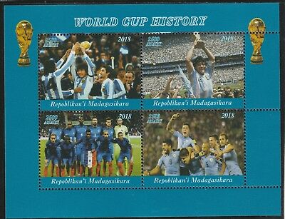Madagascar 7697 - 2018   FOOTBALL - WORLD CUP  perf sheet of 4 unmounted mint