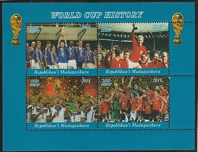 Madagascar 7699 - 2018   FOOTBALL - WORLD CUP  perf sheet of 4 unmounted mint