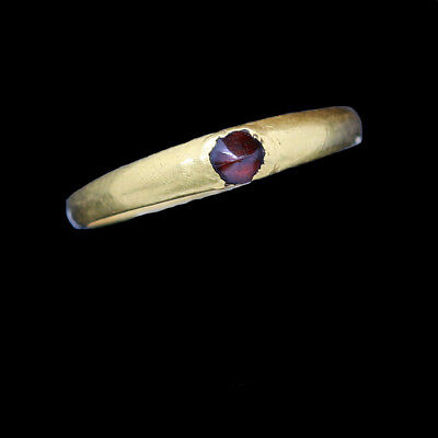 Medieval Gold Ring with Garnet 13th - 14th Century AD Antiquity Very Small(5660)