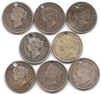 Canada Silver 5 Cents 1882 H, 1888, 1889, 1891, 1893,1897, 1899 & 1901