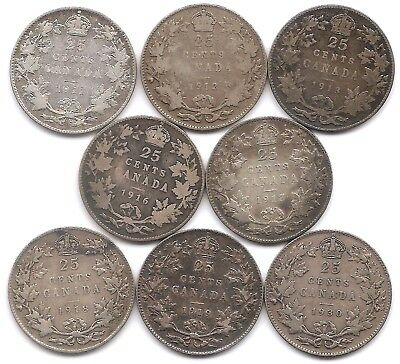 Canada Lot of 8 Silver 25 Cents 1911, 1912, 1913, 1916, 1917, 1918, 1918 & 1930