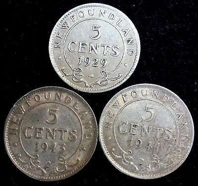 Newfoundland Lot of 3 Silver 5 Cents Coins 1929, 1941 c & 1943 c