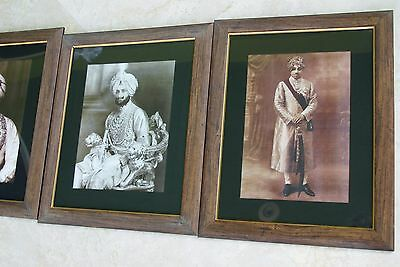3 Vintage Framed Sepia Indian 1880 Royalty Princes Traditional Court Costumes