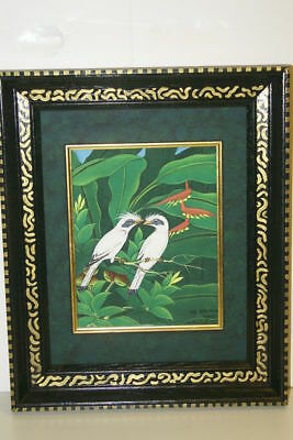 Hand painted Custom Framed Original Art painting Canvas Signed Tropical Starling