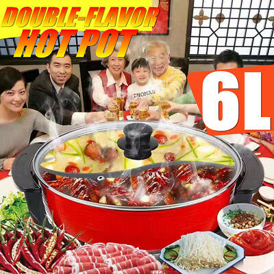 1800W Electric Home Twin Double Divided Hot Pot Shabu Smokeless Non-Stick Cooker