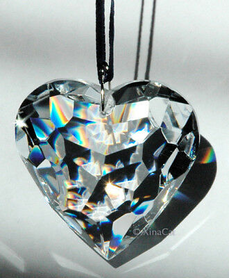 Huge 50mm Heart Crystal Clear Facet Prism in Pouch HOT gift 2 inches