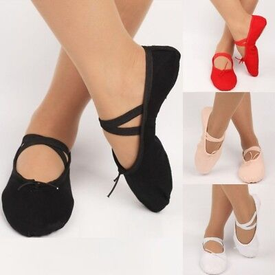 Children Adult Canvas Split Sole Ballet Dance Shoes Pointe Slippers Size 12 Size