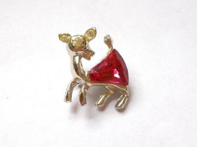 Vintage 1940's Pink Glass Crystal Bambi Deer Fawn Gold Tone Brooch
