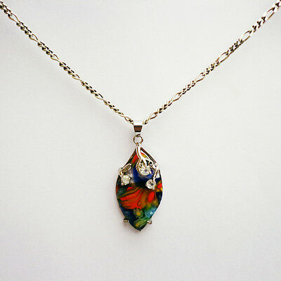18k Gold Plated Millefiori Pattern Pendant with Sterling Silver Chain Necklace