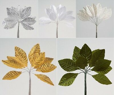 Small satin leaves on a Wire Stem - Bunch of 12 - 5 Colours